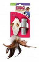 Kong / Игрушка Конг для кошек Мышь-полевка с перьями плюш с тубом кошачьей мяты