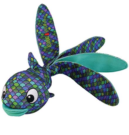 Kong Wubba Finz Large / Игрушка Конг для собак Рыба с пищалкой Синяя