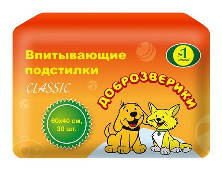 Доброзверики Classic / Подстилки для животных Впитывающие 60 х 40 см