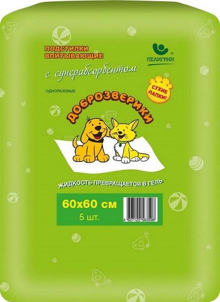 Доброзверики Сухие лапки / Подстилки впитывающие для животных с Cуперабсорбентом