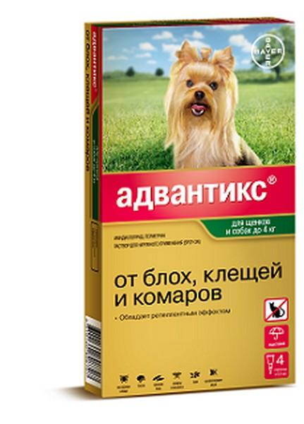 Bayer Адвантикс 40С / Капли на холку от Блох, Клещей и Комаров для собак весом до 4 кг