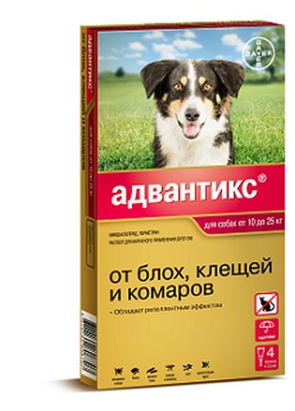 Bayer Адвантикс 250С / Капли на холку от Блох, Клещей и Комаров для собак весом 10-25 кг