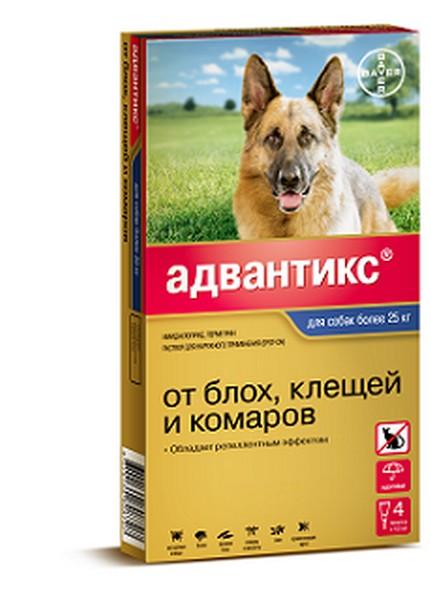 Bayer Адвантикс 400С / Капли на холку от Блох, Клещей и Комаров для собак весом 25-40 кг