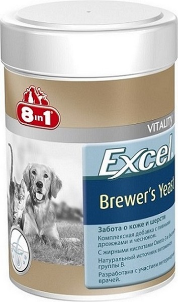 8in1 Excel Brewer's Yeast / 8в1 Пивные дрожжи Забота о коже и шерсти для кошек и собак