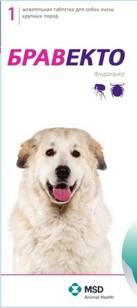 MSD Intervet Bravecto / Жевательная таблетка Бравекто от Блох и Клещей для собак весом 40 - 56 кг