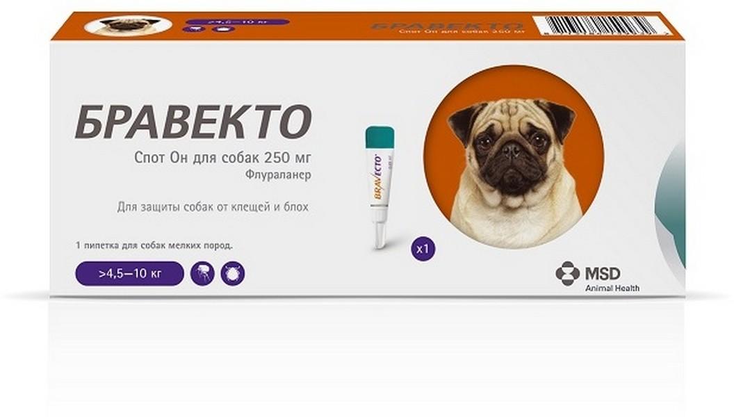 MSD Intervet Bravecto / Капли Бравекто Спот Он от Клещей и Блох для собак весом 4,5 - 10 кг