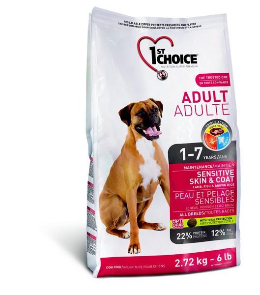 1st Choice Adult Sensitive Skin & Coat / Сухой корм Фёст Чойс для собак с Чувствительной кожей и шерстью Ягненок Рыба коричневый Рис