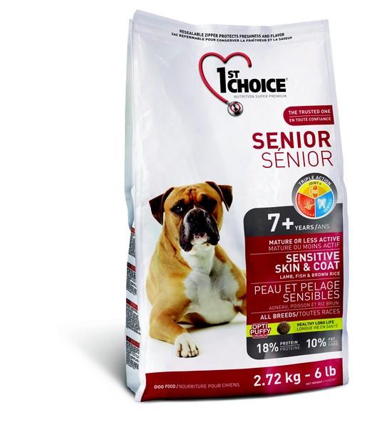 1st Choice Senior Mature or Less Active Sensitive Skin & Coat / Сухой корм Фёст Чойс для Пожилых или Малоактивных собак с Чувствительной Кожей и Шерстью Ягненок Рыба коричневый Рис