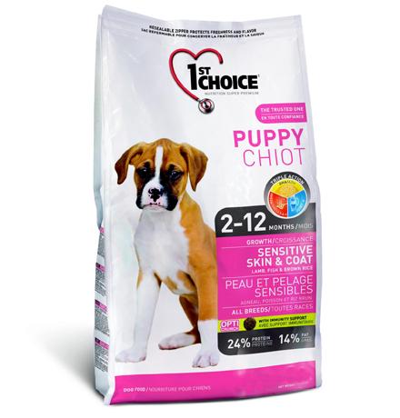 1st Choice Puppy  Sensitive Skin & Coat / Сухой корм Фёст Чойс для Щенков с Чувствительной кожей и шерстью Ягненок Рыба коричневый Рис