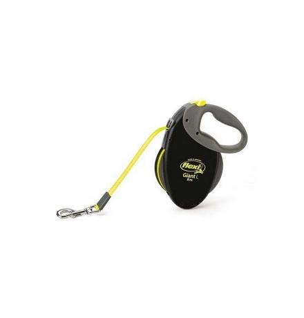Flexi Giant Neon XL / Флекси рулетка Чёрная для собак весом от 50 кг Ремень 8 м