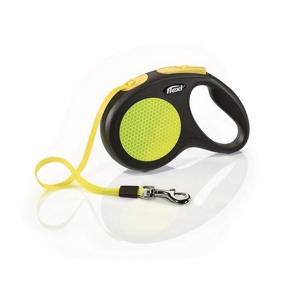 Flexi New Neon M / Флекси рулетка для собак весом до 25 кг Лента 5 м