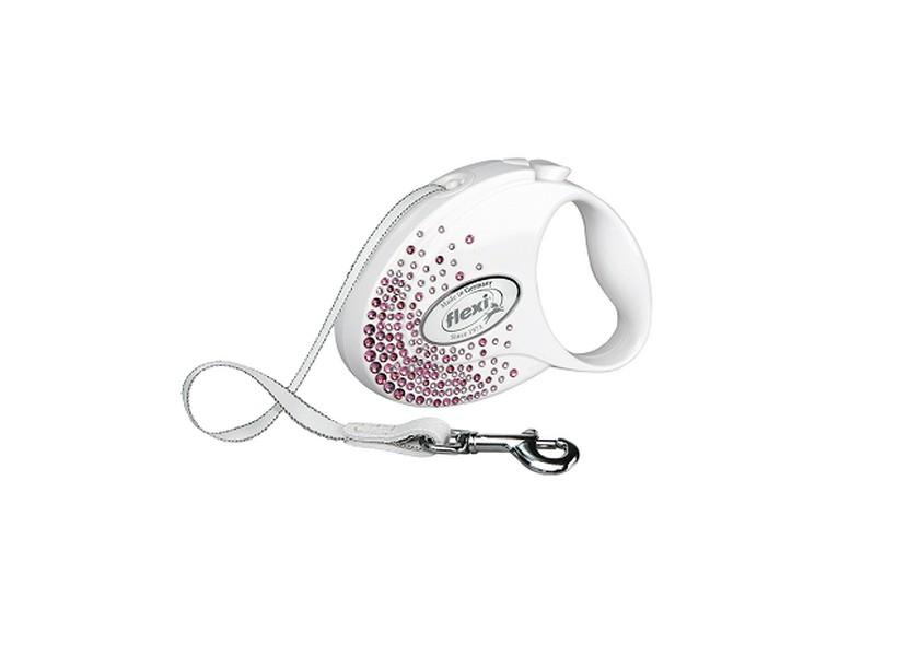 Flexi Glam Splash Pink S / Флекси рулетка с Розовыми кристаллами Swarovski для собак весом до 12 кг Лента 3 м
