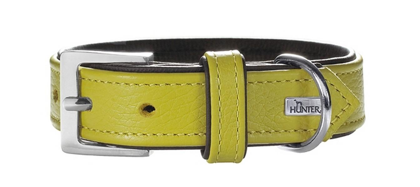 Hunter Capri ошейник для собак натуральная кожа Лайм-Черный