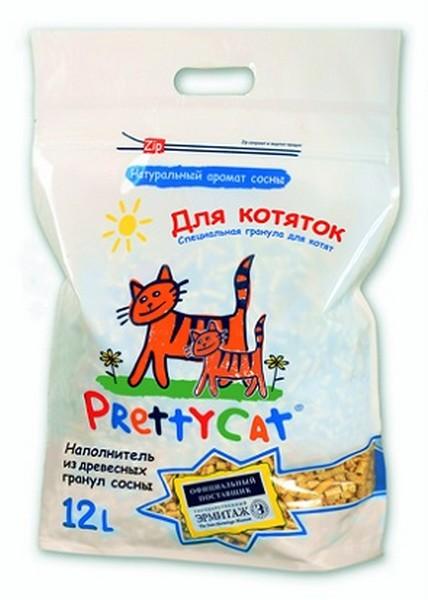 PrettyCat Wood Granules / Наполнитель для кошачьего туалета ПриттиКэт Вуд Гранулс Древесный для Котят