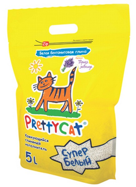 PrettyCat Super White / Наполнитель для кошачьего туалета ПриттиКэт Супер Белый Бентонитовый Комкующийся с ароматом Лаванды