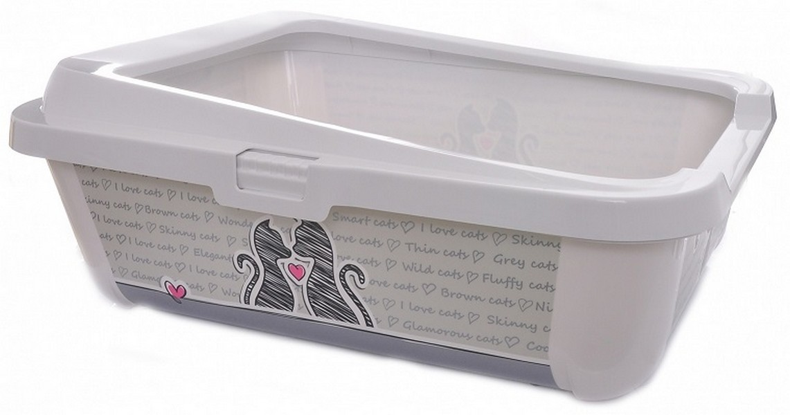 Moderna Cats in Love Hercules / Туалет-лоток Модерна для кошек с бортом Серо-белый