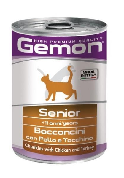 Gemon Senior Chunkies Chicken & Turkey / Консервы Джимон для Пожилых кошек кусочки Курицы с индейкой (цена за упаковку)