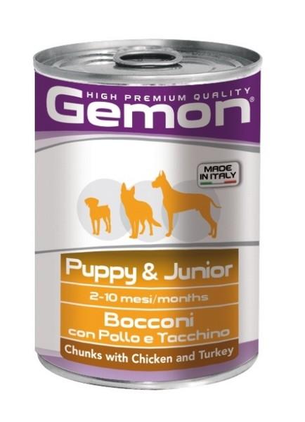 Gemon Puppy & Junior Chunks Chicken & Turkey / Консервы Джимон для Щенков и Юниоров кусочки Курицы с Индейкой (цена за упаковку)