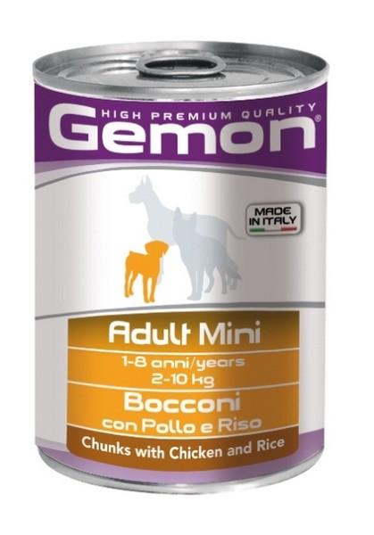 Gemon Adult Mini Chunks Chicken & Rice / Консервы Джимон для собак Мелких пород кусочки Курицы с рисом (цена за упаковку)