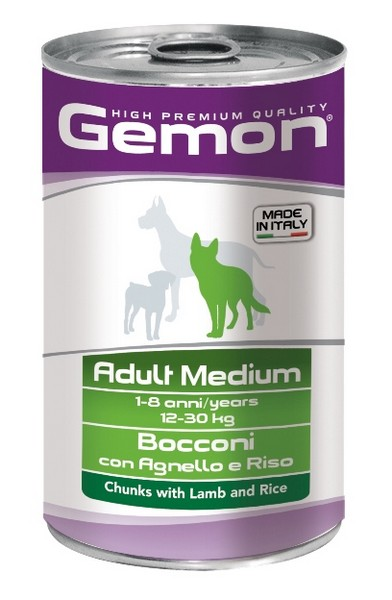 Gemon Adult Medium Chunks Lamb & Rice / Консервы Джимон для собак Средних пород кусочки Ягненка с рисом (цена за упаковку)