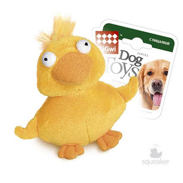 GiGwi Dog Toys / Игрушка Гигви для собак Утка Желтая с пищалкой