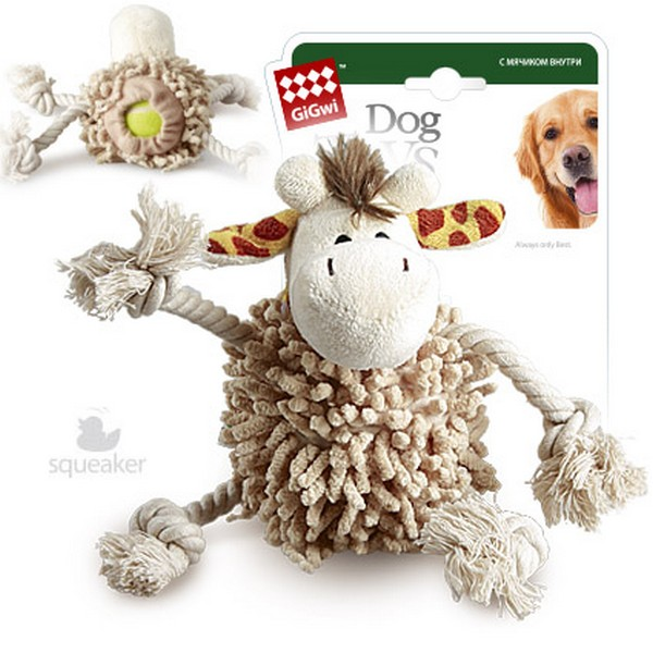 GiGwi Dog Toys / Игрушка Гигви для собак Жираф с теннисным мячом с пищалкой