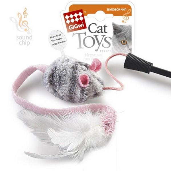 GiGwi Cat Toys / Игрушка Гигви для кошек Дразнилка на стеке со звуковым чипом