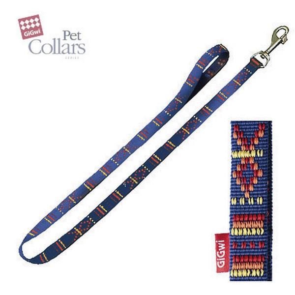 GiGwi Pet Collars / Поводок Гигви для средних собак нейлон Синий с орнаментом