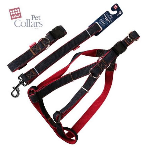 GiGwi Pet Collar Set / Набор Гигви Поводок-Ошейник XL-Шлейка 48-70см Джинса & нейлон c Красными вставками 2,5х120см