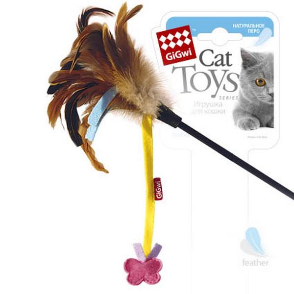 GiGwi Cat Toys / Игрушка Гигви для кошек Дразнилка на стеке с Бабочкой на веревочке
