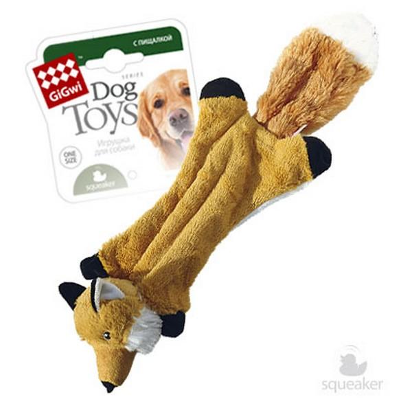 GiGwi Dog Toys / Игрушка Гигви для собак Шкурка лисы с 2-мя пищалками Без набивки