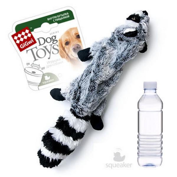 GiGwi Dog Toys / Игрушка Гигви для собак Шкурка Енота и пластиковая бутылка с отключаемой пищалкой