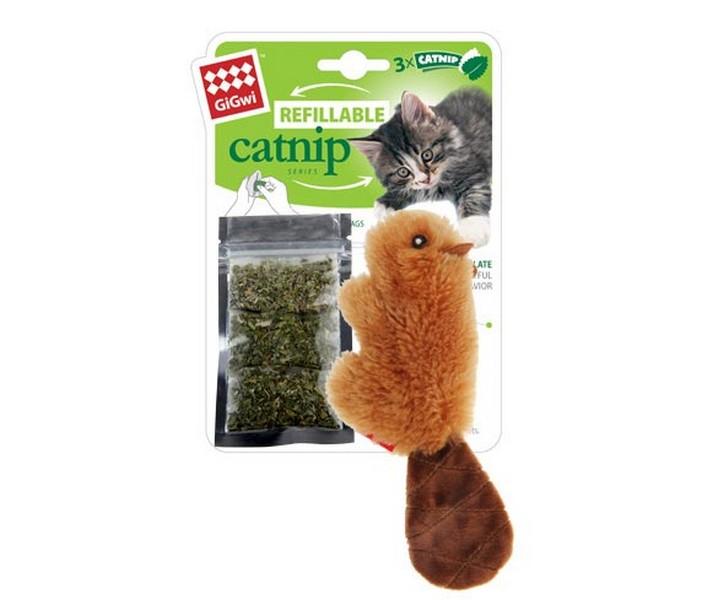 GiGwi Refillable Catnip / Игрушка Гигви для кошек Бобрёнок с кошачей мятой 3 пакетика