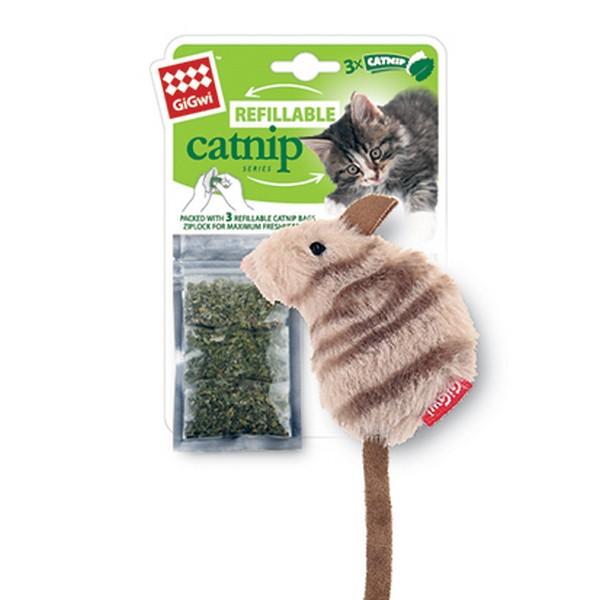 GiGwi Refillable Catnip / Игрушка Гигви для кошек Мышка с кошачей мятой 3 пакетика