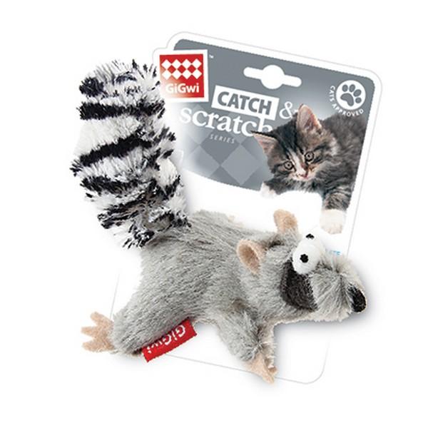 GiGwi Cat Catch & Scratch / Игрушка Гигви для кошек Енот с кошачей мятой