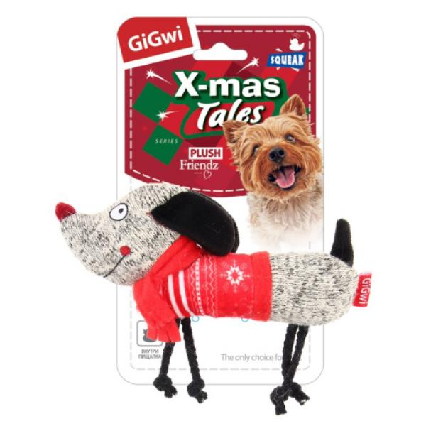 GiGwi Dog X-mas Tales / Игрушка Гигви для собак Собачка с пищалкой