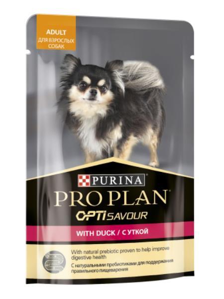 Purina Pro Plan Adult OptiSavour Duck / Влажный корм (Паучи) Пурина Про План для взрослых собак Мелких и карликовых пород Утка (цена за упаковку)