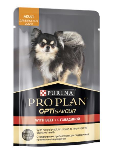 Purina Pro Plan Adult OptiSavour Beef / Влажный корм (Паучи) Пурина Про План для взрослых собак Мелких и карликовых пород Говядина (цена за упаковку)