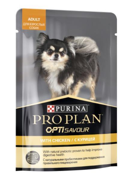 Purina Pro Plan Adult OptiSavour Chicken / Влажный корм (Паучи) Пурина Про План для взрослых собак Мелких и карликовых пород Курица (цена за упаковку)