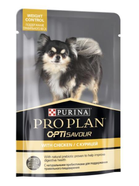 Purina Pro Plan Weight Control OptiSavour Chicken / Влажный корм (Паучи) Пурина Про План для собак Мелких и карликовых пород Склонных к набору веса Курица (цена за упаковку)