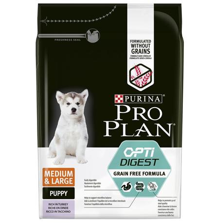 Purina Pro Plan Medium & Large Puppy OptiDigect Grain free / Сухой Беззерновой корм Пурина Про План для Щенков Средних и Крупных пород с Чувствительным пищеварением Индейка