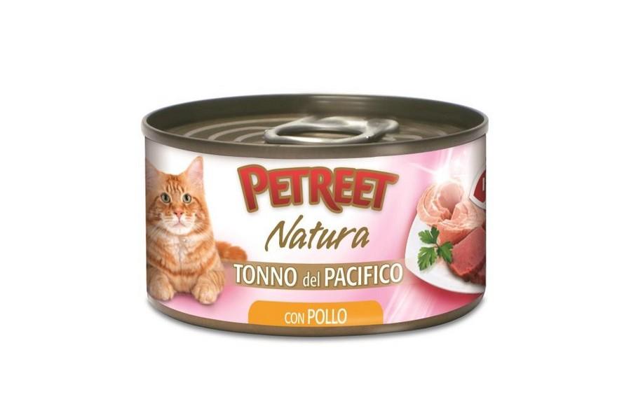 Petreet Tonno del Pacifico con Pollo / Консервы Петрит для кошек Кусочки тихоокеанского тунца с курицей в рыбном бульоне (цена за упаковку)