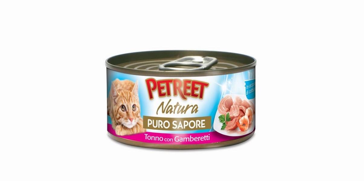 Petreet Puro Sapore Tonno con Gamberetti / Консервы Петрит для кошек Кусочки тунца с креветками в рыбном супе (цена за упаковку)