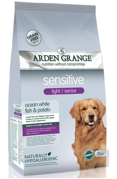 Arden Grange Sensitive Light / Senior Grain free / Сухой корм Ардэн Грэндж Беззерновой для Пожилых собак с Чувствительным пищеварением и чувствительной кожей Низкокалорийный Белая рыба Картофель