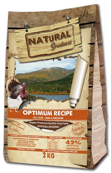 Natural Greatness Optimum Recipe Mini & Medium / Сухой Гипоаллергенный корм Нэчерал Грейтнес для собак Мелких и Средних пород