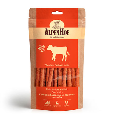 AlpenHof Beef sticks / Лакомство Альпенхоф для Щенков и Мелких собак Колбаски Баварские из Телятины