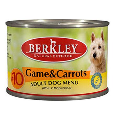 Berkley №10 Adult Game & Carrots / Консервы Беркли для собак Дичь с морковью (цена за упаковку)