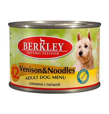Berkley №12 Adult Venison & Noodles / Консервы Беркли для собак Оленина с лапшой (цена за упаковку)