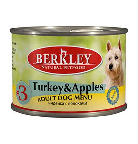Berkley №3 Adult Turkey & Apples / Консервы Беркли для собак Индейка с яблоками (цена за упаковку)