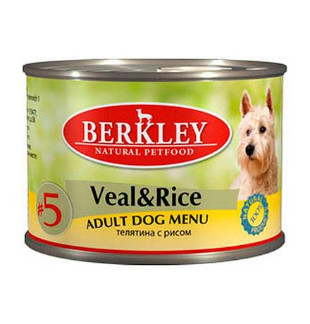 Berkley №5 Adult Veal & Rice / Консервы Беркли для собак Телятина с рисом (цена за упаковку)